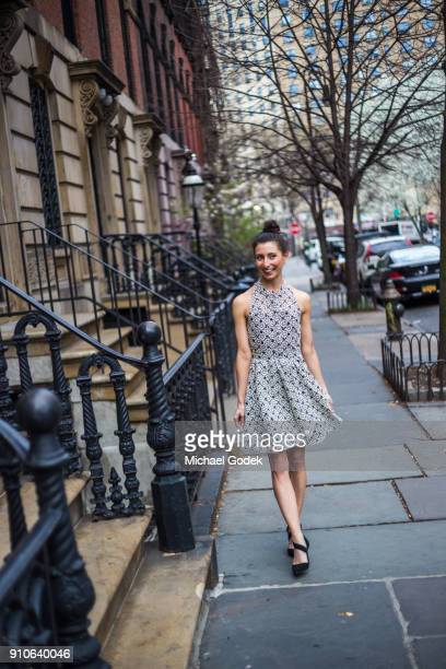 Woman in fashionable dress in New York City
