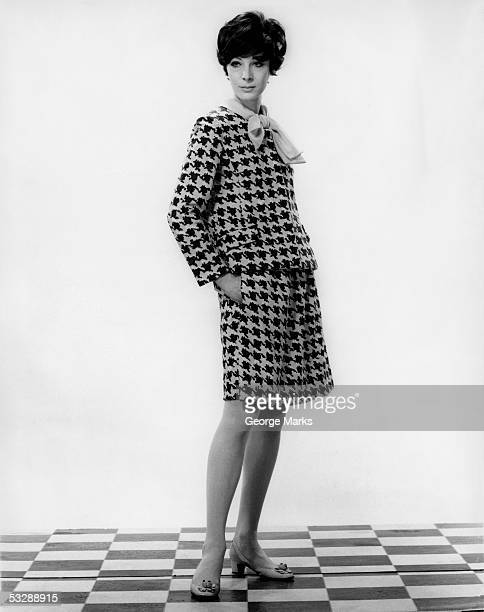woman in fashionable dress - checked suit stock pictures, royalty-free photos & images