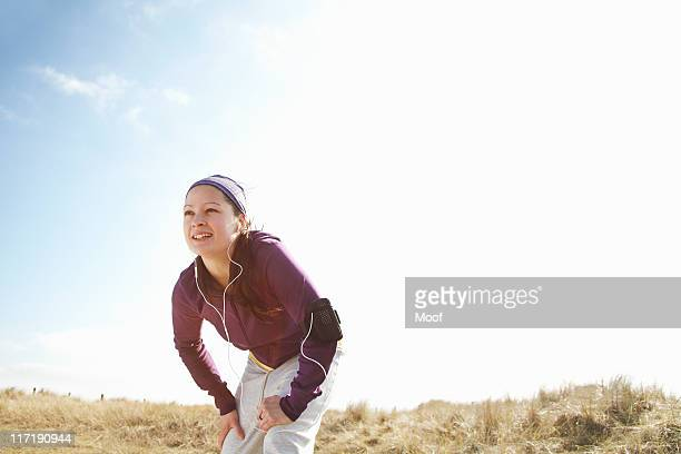 Woman in fitness clothing outside
