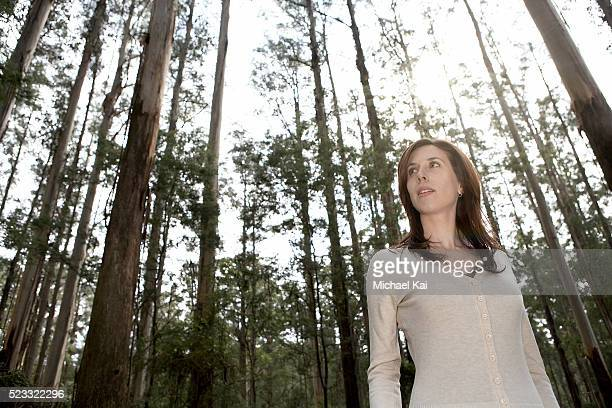 woman in forest - dandenong stock photos and pictures
