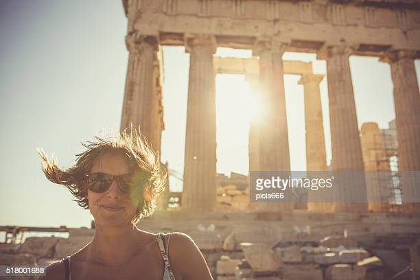 Woman in front of Athens Parthenon
