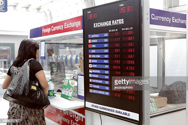 Woman in front of foreign currency exchange kiosk