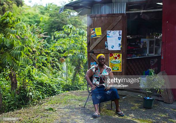 Woman in front of her shop on October 21 2012 in Scarborough Trinidad And Tobago