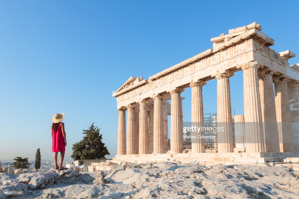 Woman in front of Parthenon temple on the Acropolis, Athens, Greece : Stock Photo