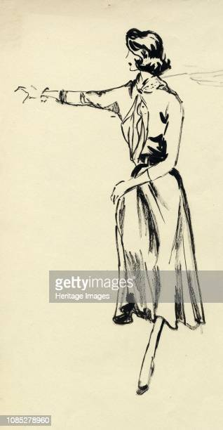 Woman in full skirt with outstretched arm circa 1950 Fashion illustration Artist Shirley Markham