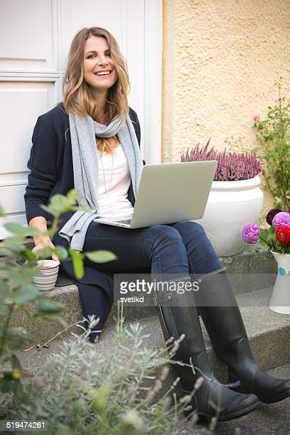 woman in garden. - danish culture stock pictures, royalty-free photos & images