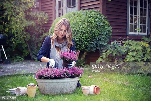 woman in garden. - bloem plant stockfoto's en -beelden