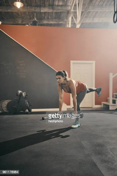 woman in gym exercising using dumbbells - heshphoto stock pictures, royalty-free photos & images