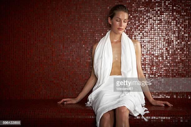 woman in hamam - sauna stock-fotos und bilder