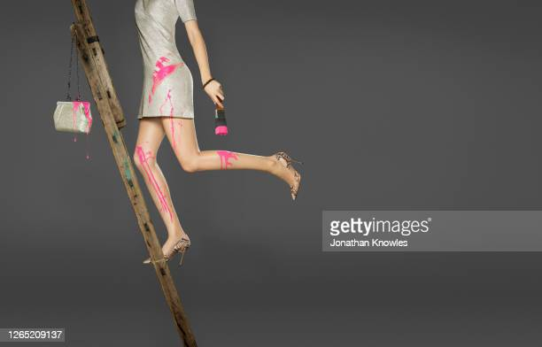 woman in high heels painting - pink purse stock pictures, royalty-free photos & images