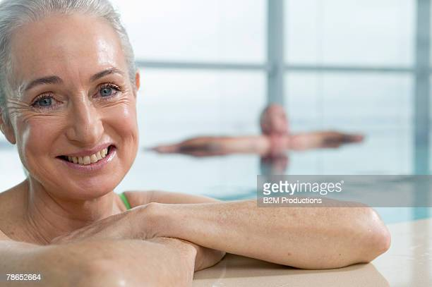 Woman in indoor pool