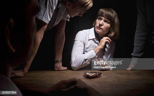 Woman in interrogation