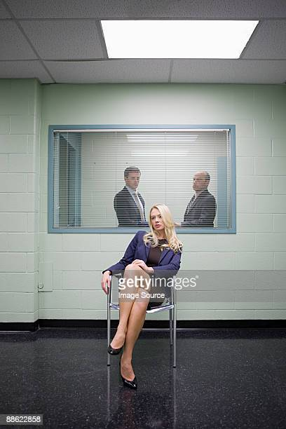 Woman in interview room