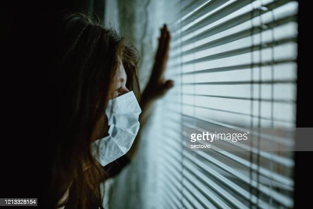 woman in isolation at home for virus outbreak - lockdown stock pictures, royalty-free photos & images