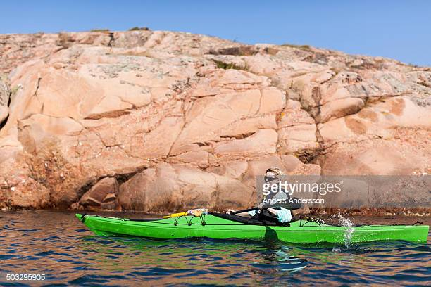 Woman in kayak in Lysekil