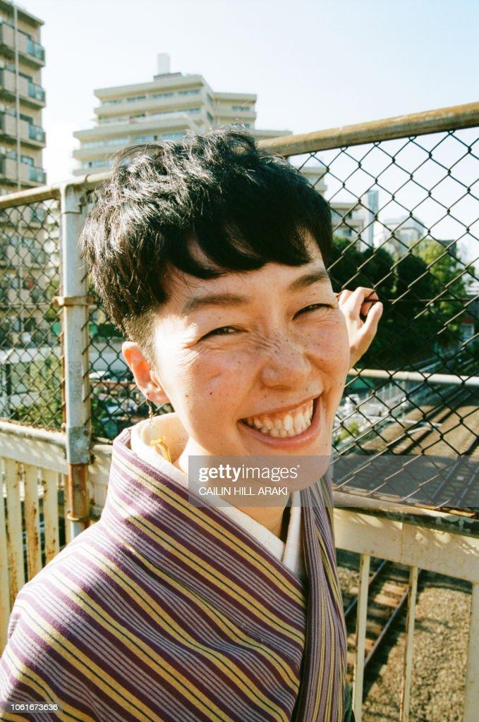 woman in kimono : Stock-Foto