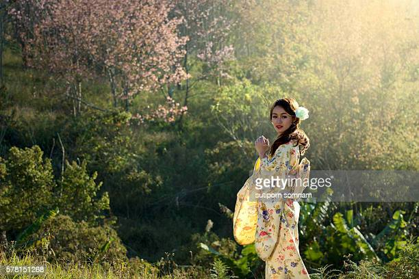 Woman in kimono traditional japanese dress
