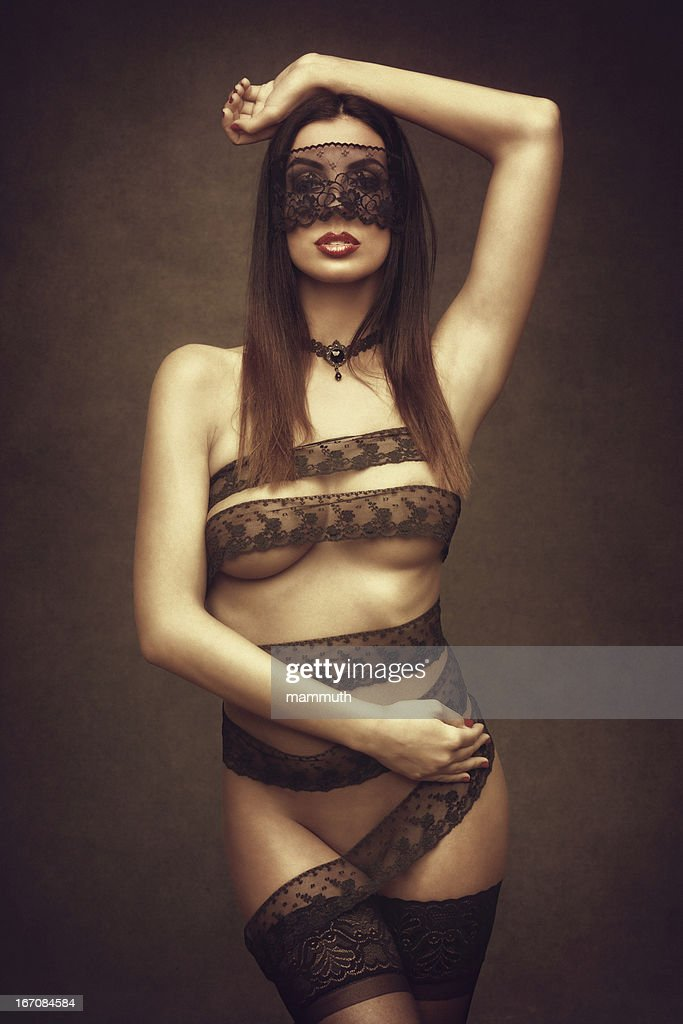 woman in lace ribbons : Stock Photo