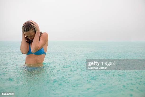 woman in lagoon