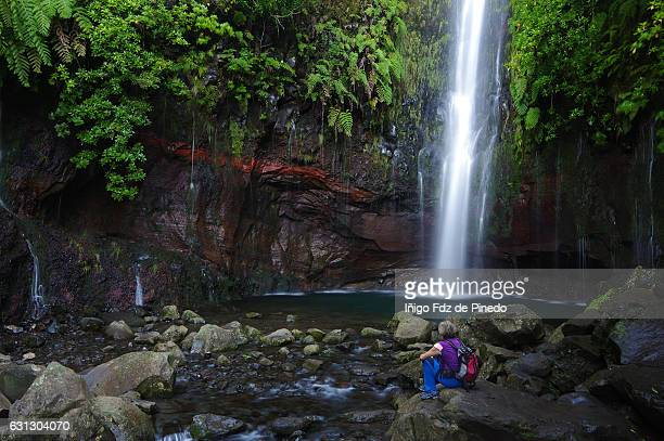 Woman in Levada pathway-The 25 Fontes waterfall -Madeira island- Portugal