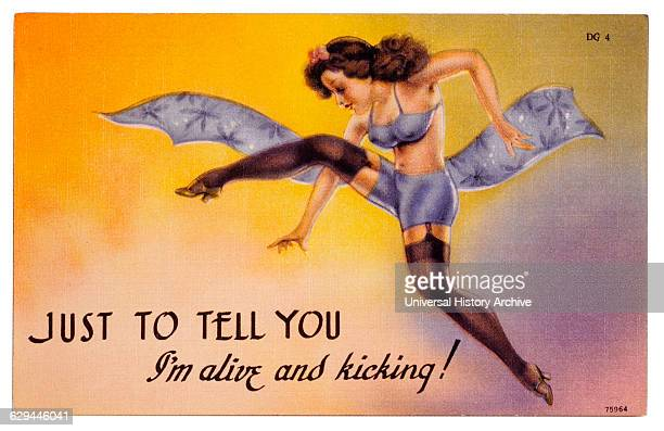 Woman in Lingerie Kicking Legs Just to Let You Know I'm Alive and Kicking PinUp Postcard Illustration 1940's