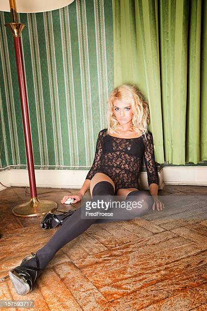 woman in lingerie - long nylon legs stock pictures, royalty-free photos & images