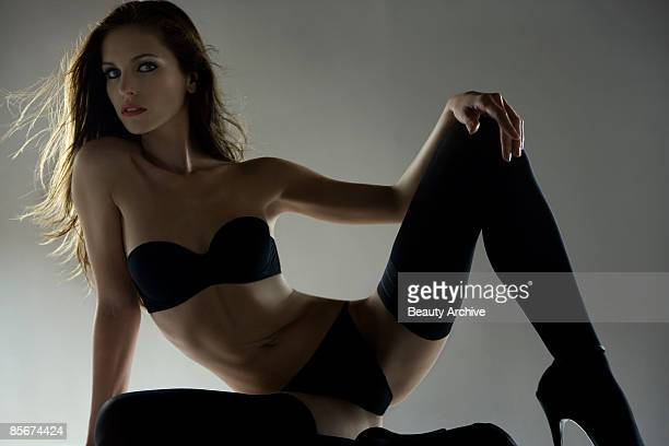 woman in lingerie - ankle boot stock photos and pictures