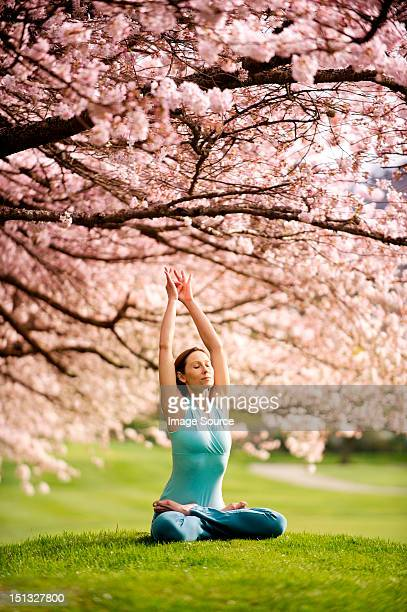 Woman in lotus position under cherry tree, with arms raised