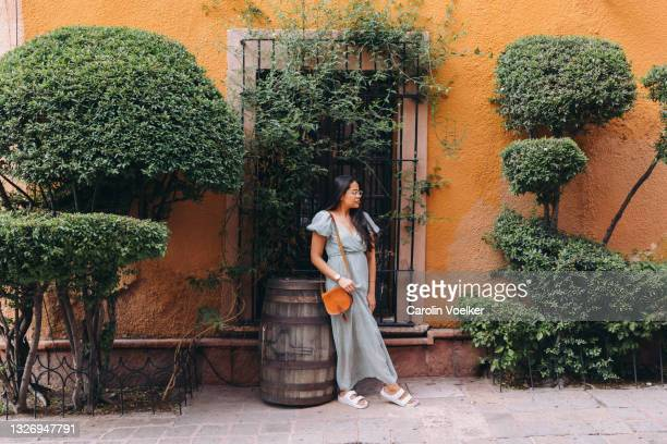 woman in maxi dress standing in front of yellow wall with plants - long dress stock pictures, royalty-free photos & images