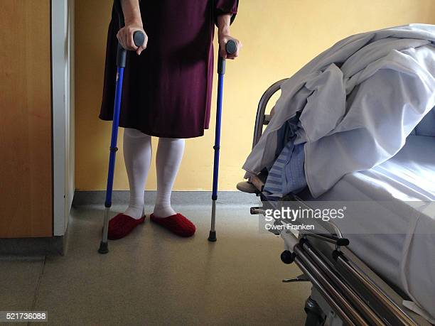 woman in medical center after a hip replacement