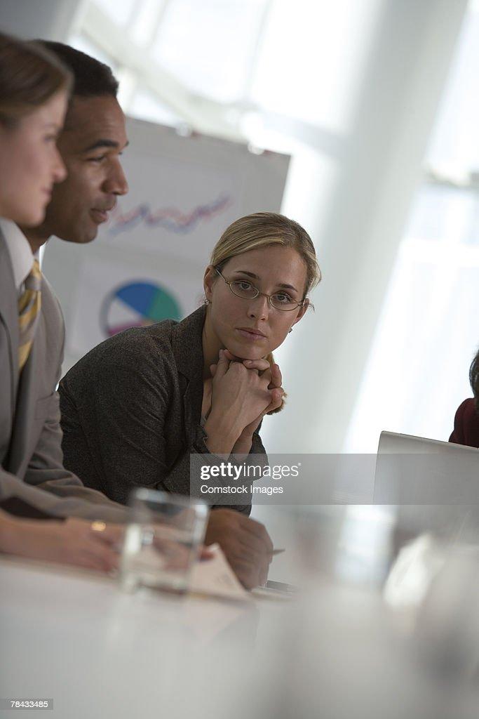 Woman in meeting : Stockfoto