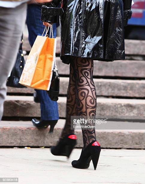 Woman in modern and fashioned high heels on the Red Square on October 14, 2009 in Moscow, Russia. Moscow is the biggest european city with more than...