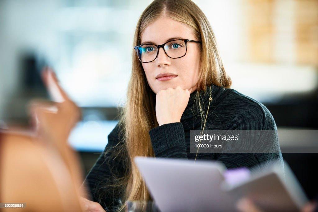 Woman in modern office : Stock Photo