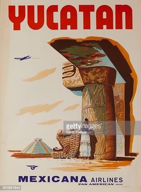 Woman in native costume stands in the shade of Mayan ruins ca 1960s travel poster