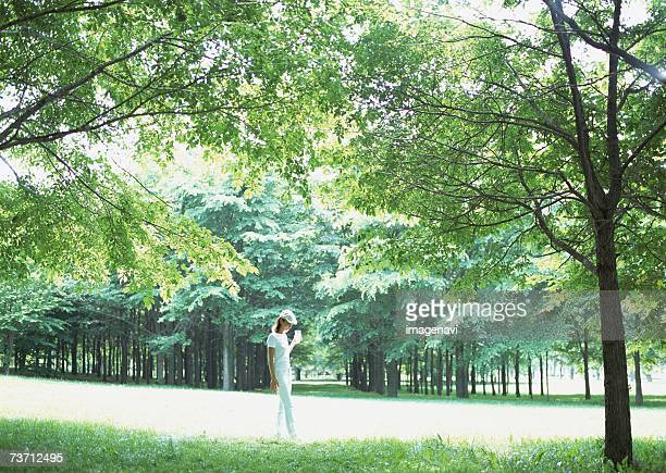 Woman in natural park