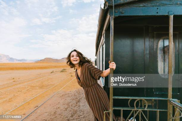 Woman in old-fashioned train