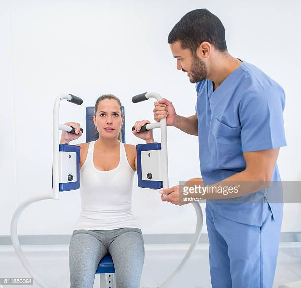 Woman in physiotherapy at the hospital