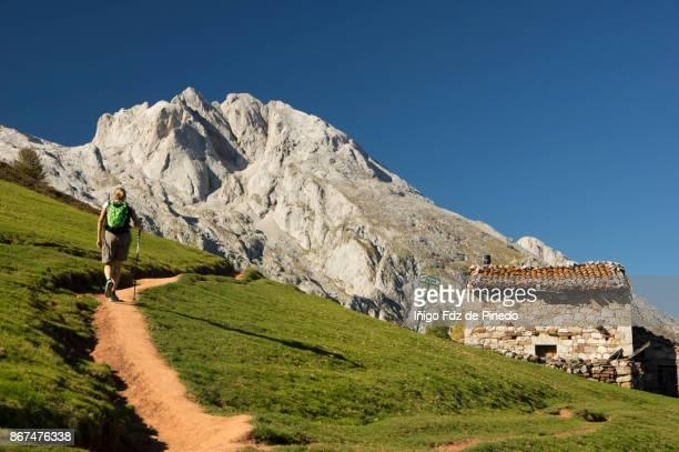 A woman in Picos de Europa - Naranjo de Bulnes -  Pandébano - Naranjo de Bulnes - Asturias- Spain