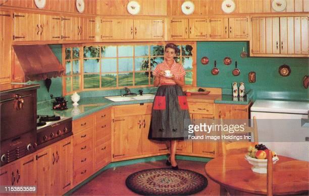 Woman in Pine Kitchen
