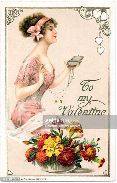 Woman in Pink Dress Holding Large Locket 'To my Valentine' Postcard circa 1913