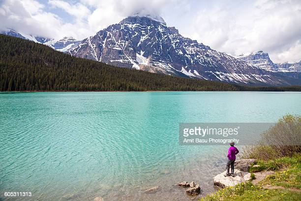 Woman in pink, Waterfowl lake, Banff National Park