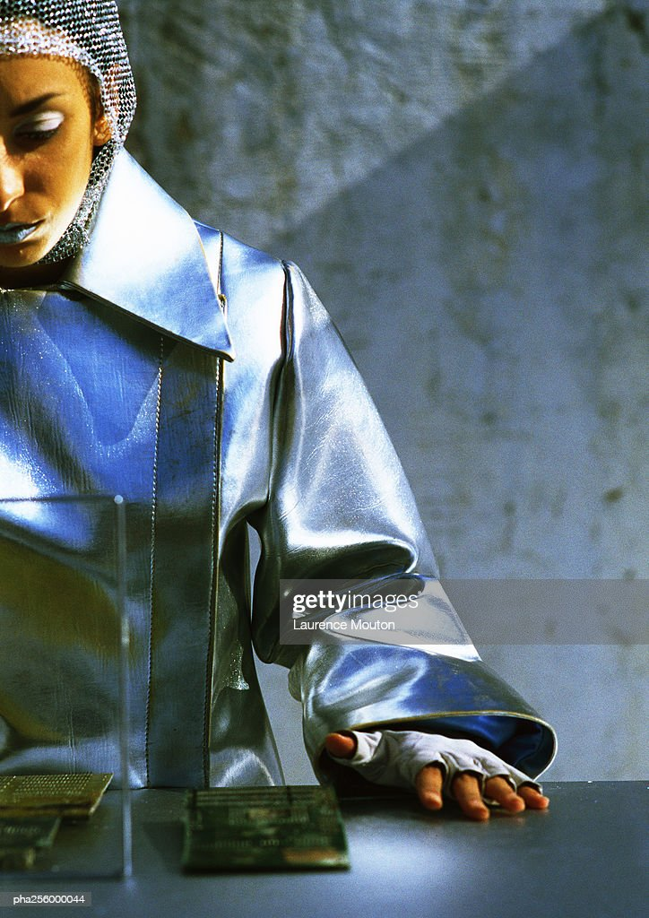 Woman in protective suit : Stockfoto