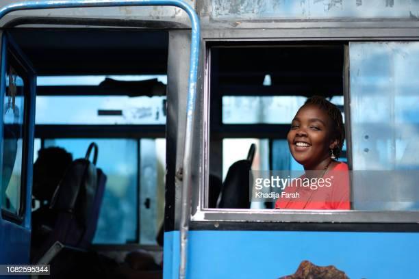 woman in public transport bus - kenya bildbanksfoton och bilder