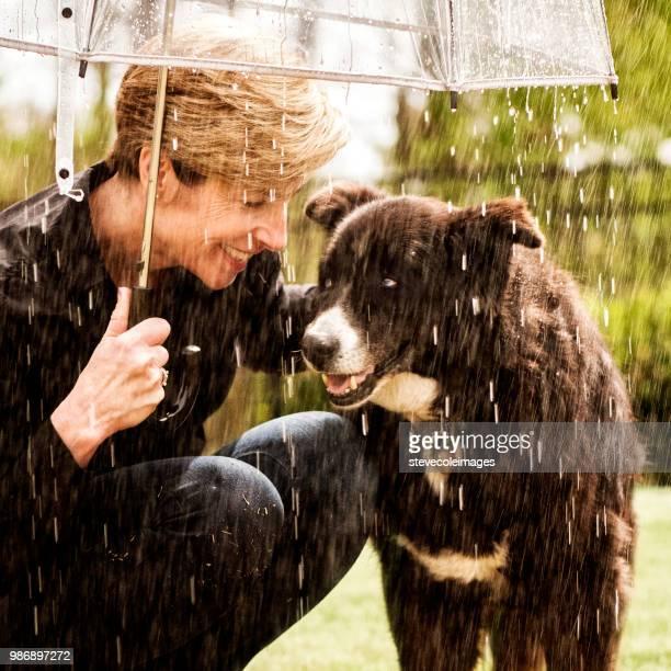 Woman in Rain with Dog