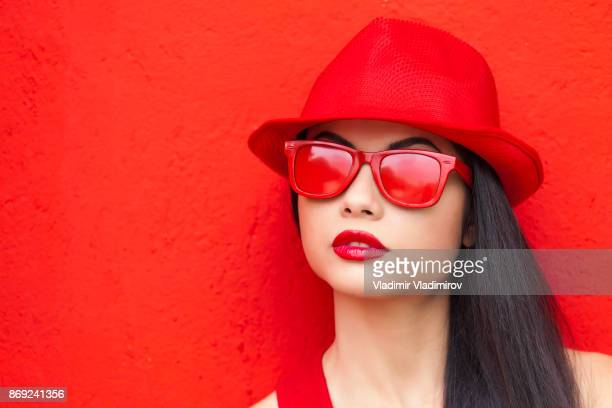 Woman in red colour outfit