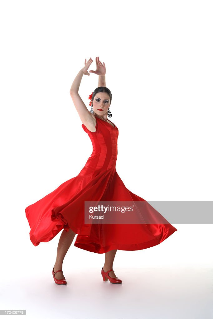 3fc6c12e2d68 Woman In Red Dress And Shoes In Flamenco Dance Pose Stock Photo ...
