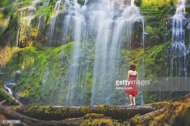 woman in red dress stands barefoot on log looking up at lower proxy falls, oregon, long exposure - strapless dress stock pictures, royalty-free photos & images