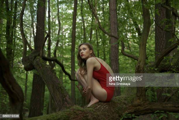 Woman in red sitting on the tree