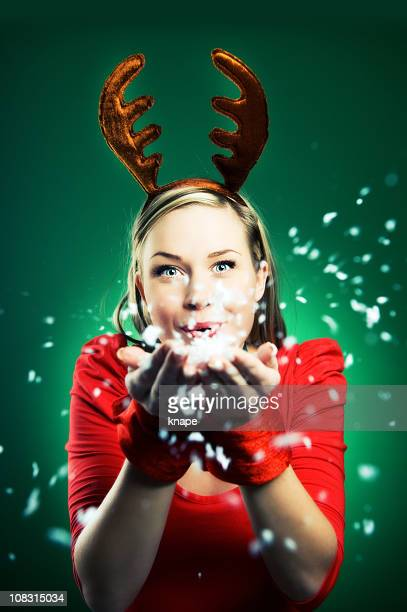 Woman in reindeer costume christmas time