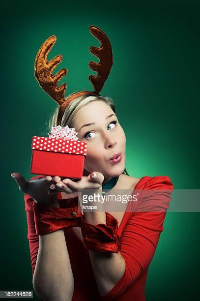Woman in reindeer costume christmas time